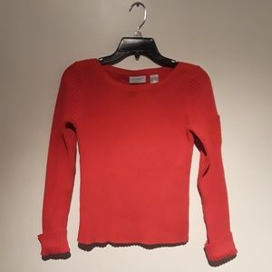 Villager Red Ribbed Sweater Women Size S